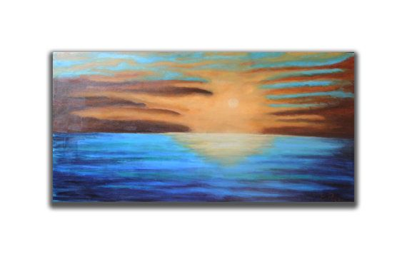47'' Landscape Painting  Seascape BLUE Large by RomanArtStudio