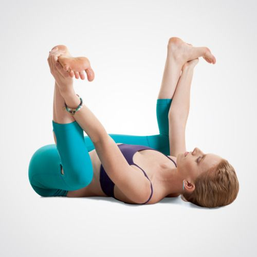 "Happy Baby Pose "" Lie on your back with your knees bent and your feet raised so the soles are facing toward the ceiling. Open your legs slightly wider than hip-width apart and grab the insides of your heels. Gently pull down on your heels to help..."