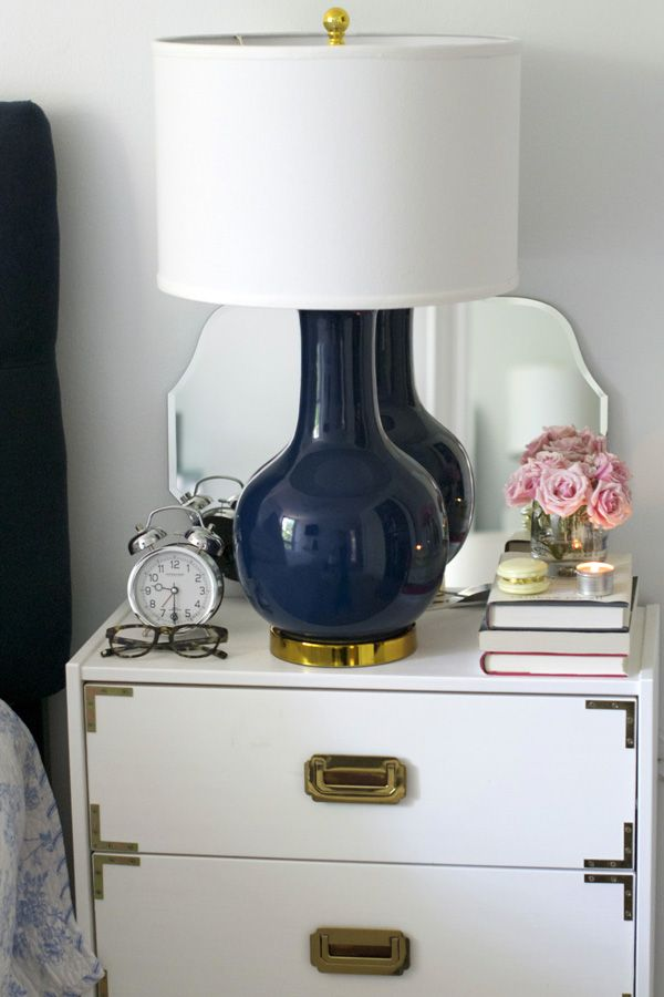 Sequins & Stripes: In the Bedroom // Lulu & Georgia Audrey Lamp // bedside table // navy