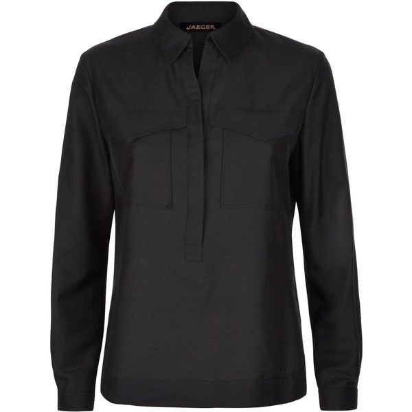 Jaeger Cotton Silk Pocket Shirt ($145) ❤ liked on Polyvore featuring tops, black, women, jaeger shirts, pocket tops, placket shirt, shirt tops and lightweight shirt