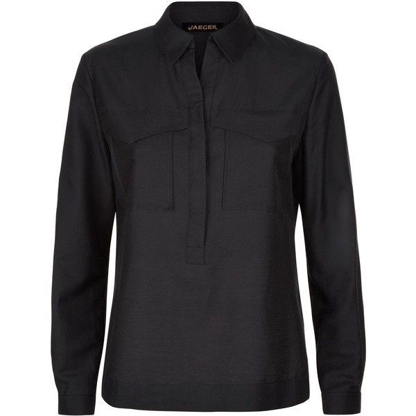 Jaeger Cotton Silk Pocket Shirt ($145) ❤ liked on Polyvore featuring tops, black, women, jaeger shirts, pocket tops, placket shirt, shirt tops and lightweight shirt