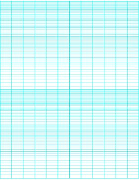 This semi-logarithmic, or semi-log, graph paper with 12 divisions (third accent) by 2 cycle segments helps when performing a semi-log plot to visualize data that has an exponential relationship. Ideal when graphing variables when there is a large range of values on one axis. Free to download and print
