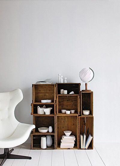 vintage crates as shelves: Decor, Ideas, Interior, Inspiration, Crate Shelves, House, Diy, Crates