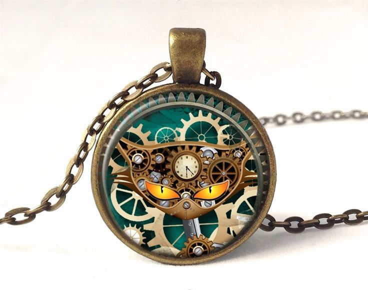 Steampunk cat necklace, 0583PB from EgginEgg by DaWanda.com