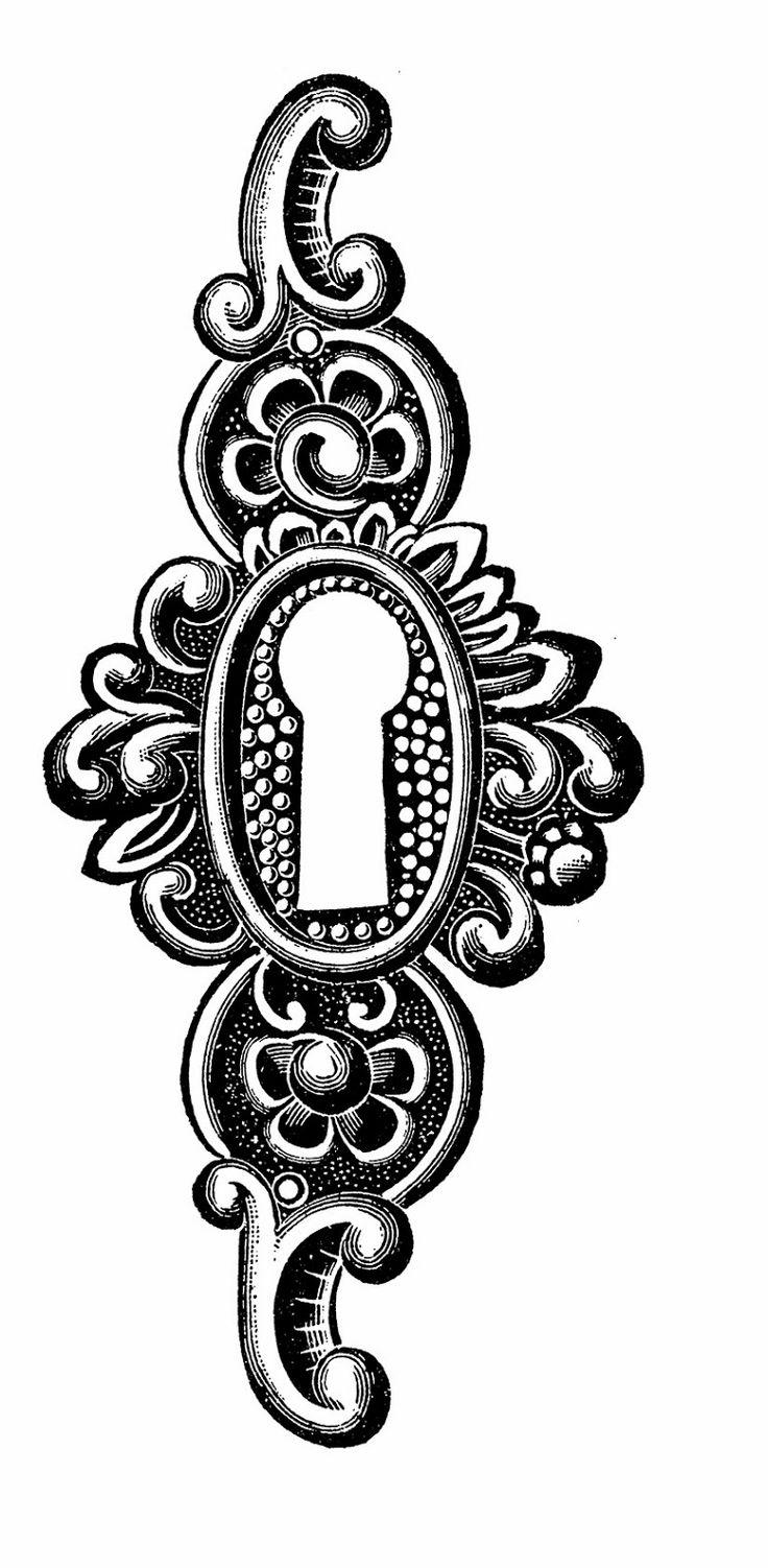 Illustrazioni Vintage in Bianco e Nero, Chiavi e Serrature - Vintage Illustrations in Black and White, Keys and Keyholes