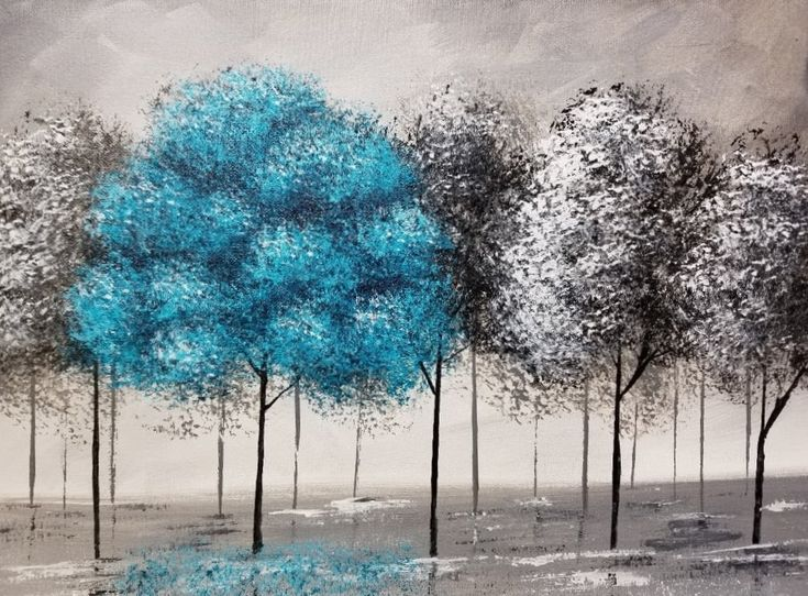 Pop of Color Black and White Trees Part 2 | Beginner Acrylic Painting | Free YouTube DIY Lesson by Angela Anderson | #angelafineart | #acrylicpainting | #blackandwhite | Turquoise Tree | Grayscale Landscape | How to Paint Easy Trees