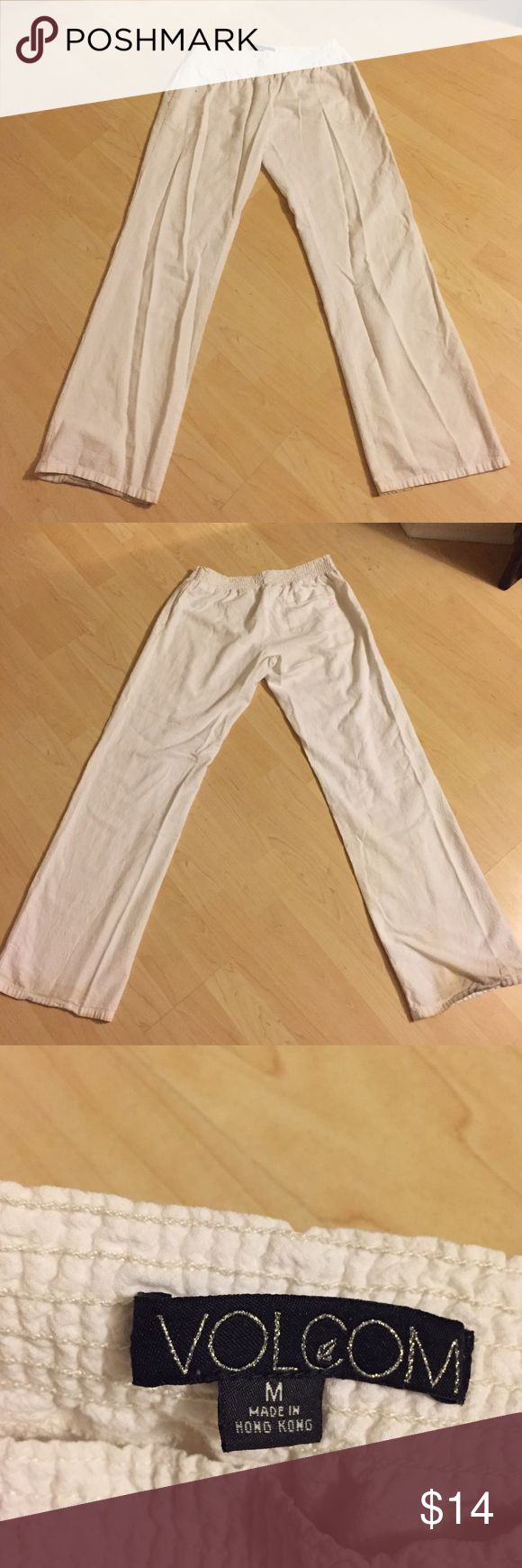 Volcom white beach pants Thin crepe like material, perfect for beach days and bonfires. Pants are long. Slightly dirty at the back bottom but can be hemmed. Pants Wide Leg