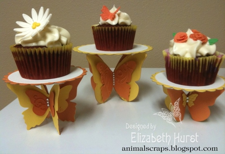 Butterfly Cupcake Stand Yellow/Orange by beadsonthebrain - Cards and Paper Crafts at Splitcoaststampers