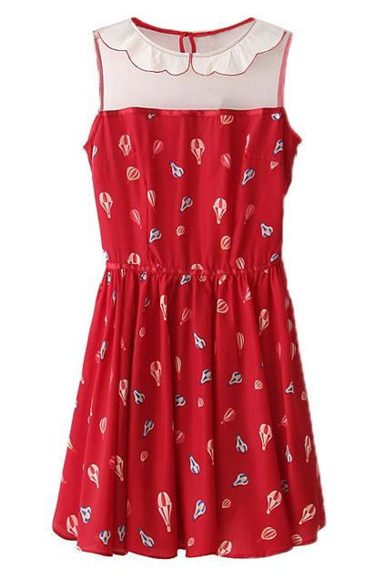 #RomwePartyDress ROMWE | Panel Ballon Print Red Dress, The Latest Street Fashion