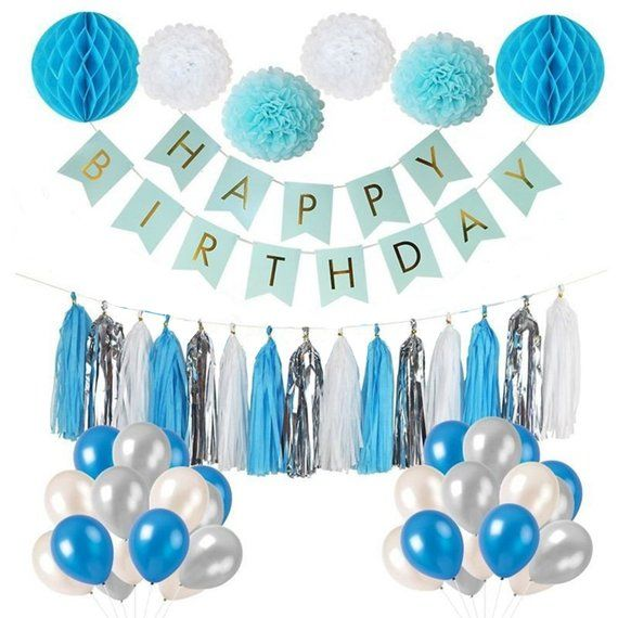Blue Silver Party Decoration Set Boy S 1st Birthday Party Blue