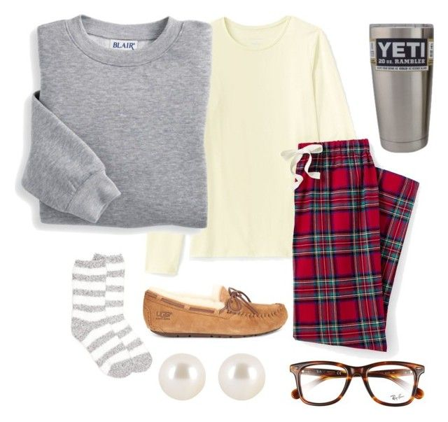 """""""Spirit Week Day 1: Pajama Day"""" by chloehooker ❤ liked on Polyvore featuring Lands' End, Blair, New Directions, UGG, Henri Bendel and Ray-Ban"""