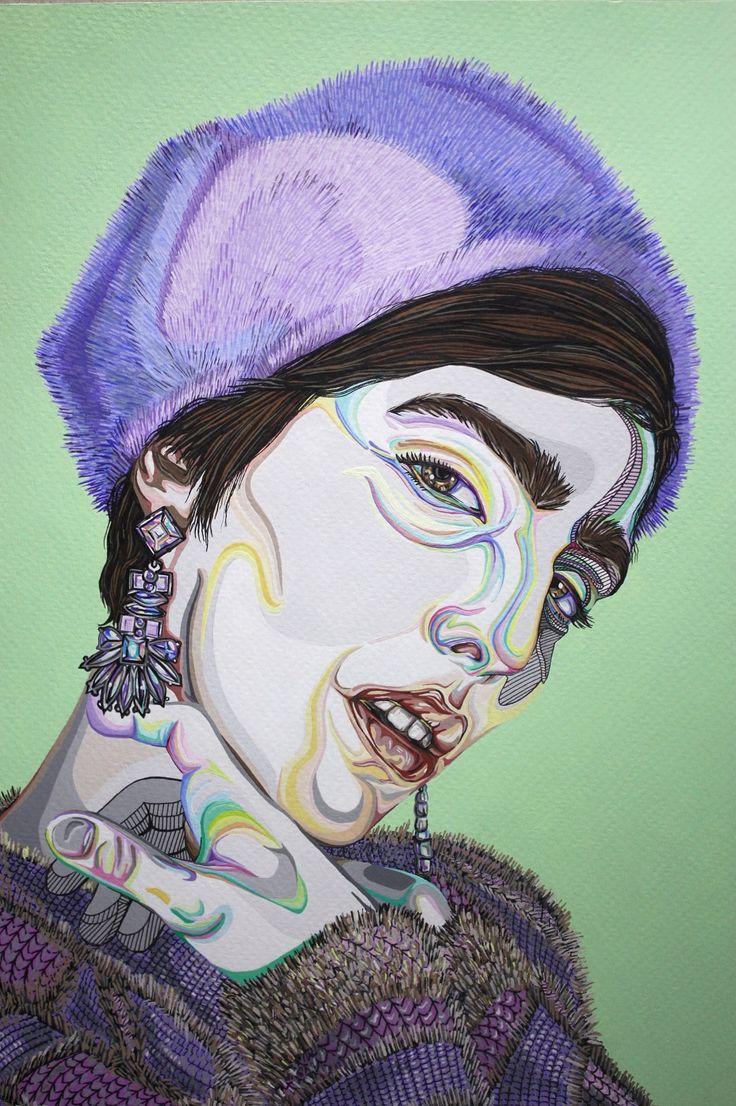 EKAV-ARTIST New Generation 4 sergisi: ZEYNEP SAĞIR - Portre Suluboya kağıdına akrilik ve marker kalem, 29,7x21cm, 2018