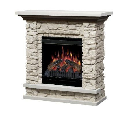Dimplex Lincoln Electric Fireplace With 20 Inch Firebox Rustic Stone Gds20 St1037