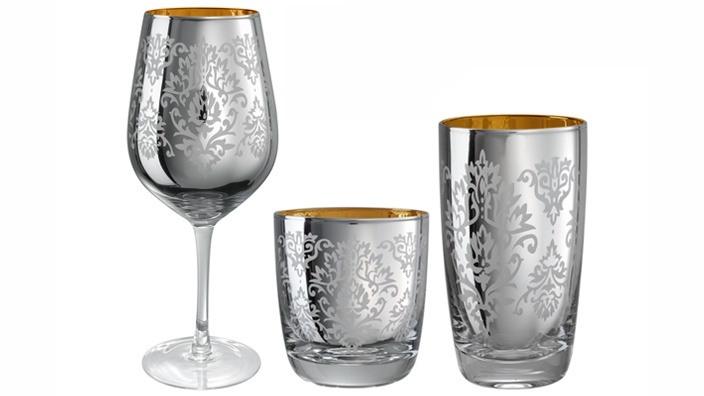 Silver Brocade Stem & Barware