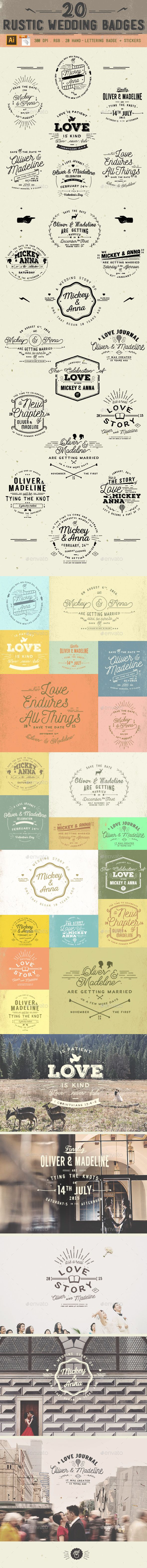 20 Rustic Wedding Badge #design #logos Download: http://graphicriver.net/item/20-rustic-wedding-badge/11795799?ref=ksioks