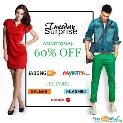 Tuesday Surprise!!  Super Sale: Additional 60% Off on Clothing, Accessories & Footwear. Use Coupon: For #Myntra: FLASH60 For #Jabong: SALE60  Shop Now: http://bit.ly/PXVuku