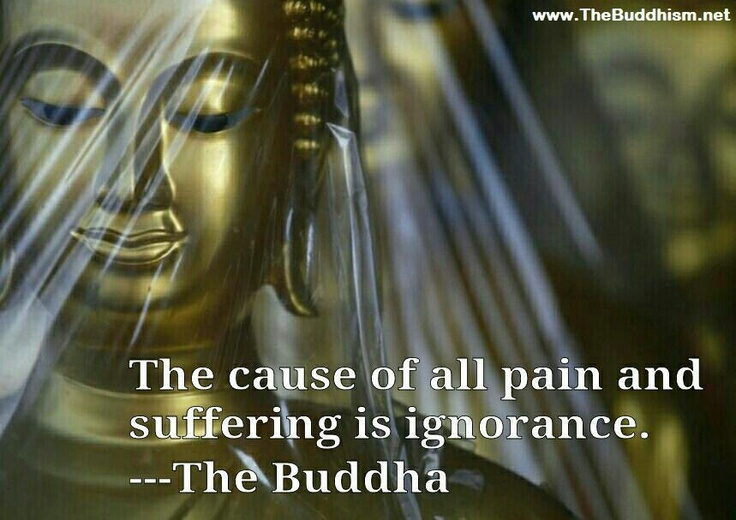 """""""The cause of all pain and suffering is ignorance!""""                 ~The Buddha~"""