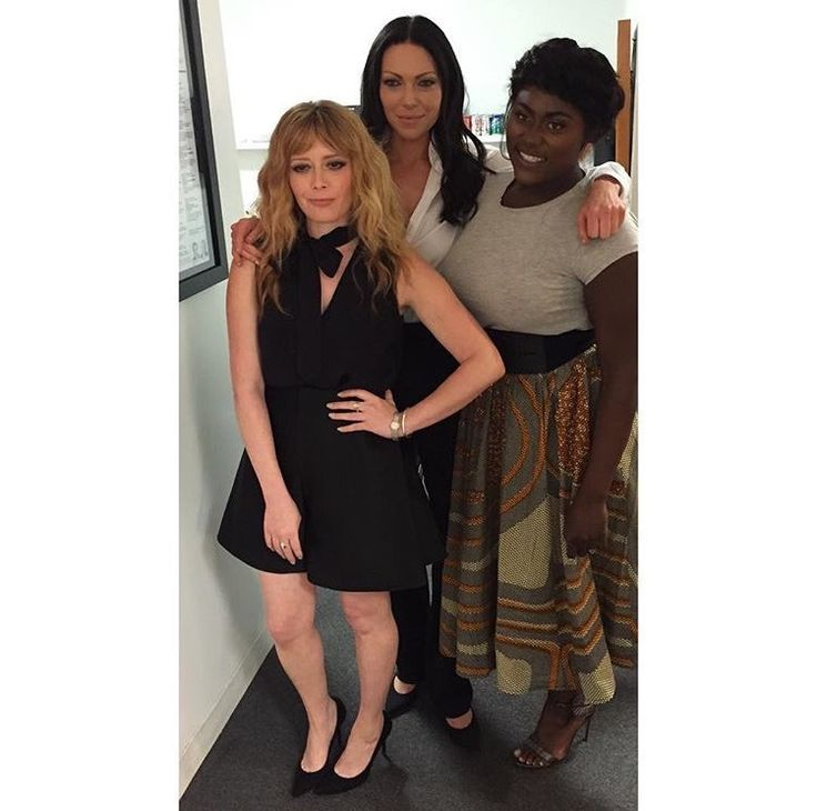 Natasha Lyonne, Laura Prepon and Danielle Brooks at the Times Center in New York.