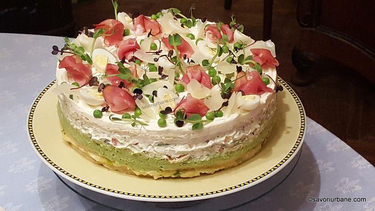 Tort aperitiv reteta pas cu pas. Tort aperitiv pentru Revelion cu umpluturi din crema de branza cu castraveti, ardei, salata de oua, crema de mazare verde