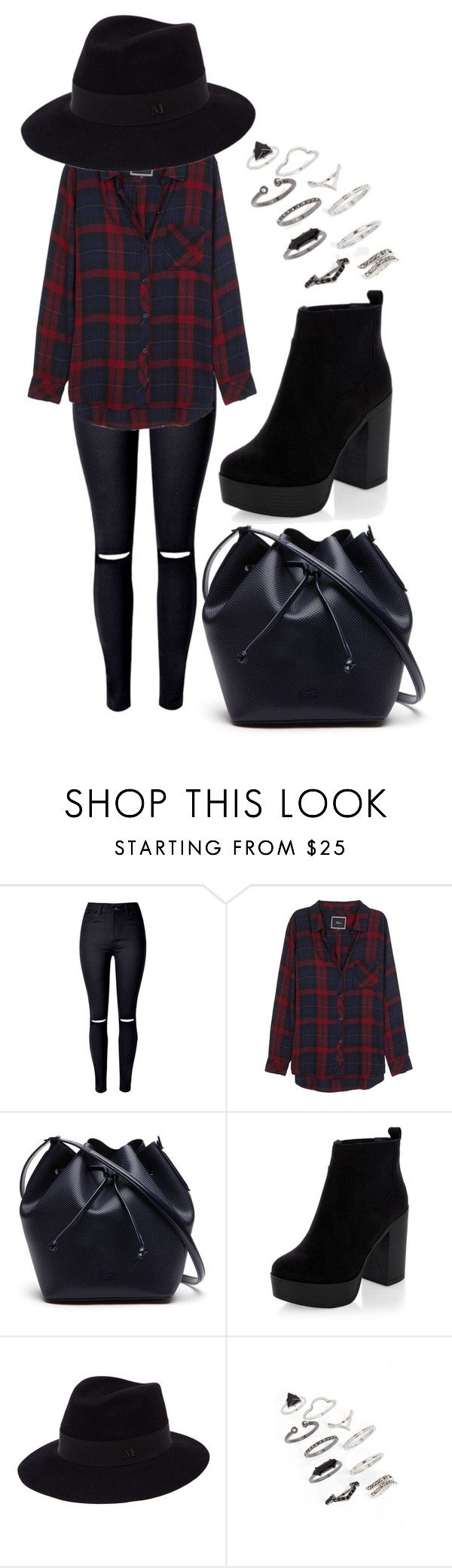 """""""Going out for a drink kind of outfit"""" by ellieparsons ❤ liked on Polyvore featuring WithChic, Rails, Lacoste, Maison Michel and Topshop"""