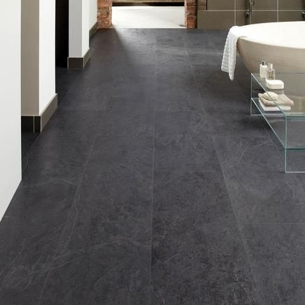 Basalt slate howdens professional fast fit v goove tiles for Grey bathroom laminate flooring