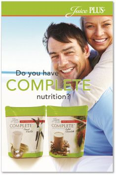 Complete Nutrition from Juice Plus+ is a wonderful addition to any healthy eating diet plan. Whole food, gluten free, low in sugar and salt. Soy based. No isolates. http://www.Your JuicePlus.com