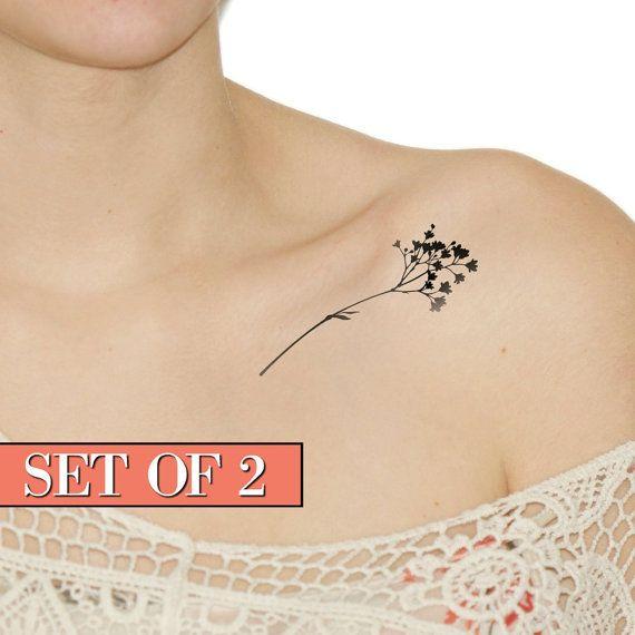 Tatuaggio Wildflower falso tatuaggio temporaneo nero di Siideways