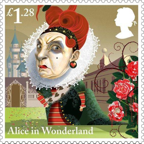 Alice in Wonderland, £1.28. Para conmemorar los 150 años de Alice in Wonderland, el servicio de correos británico Royal Mail sacó una colección de 10 sellos ilustrada por Graham Baker-Smith.