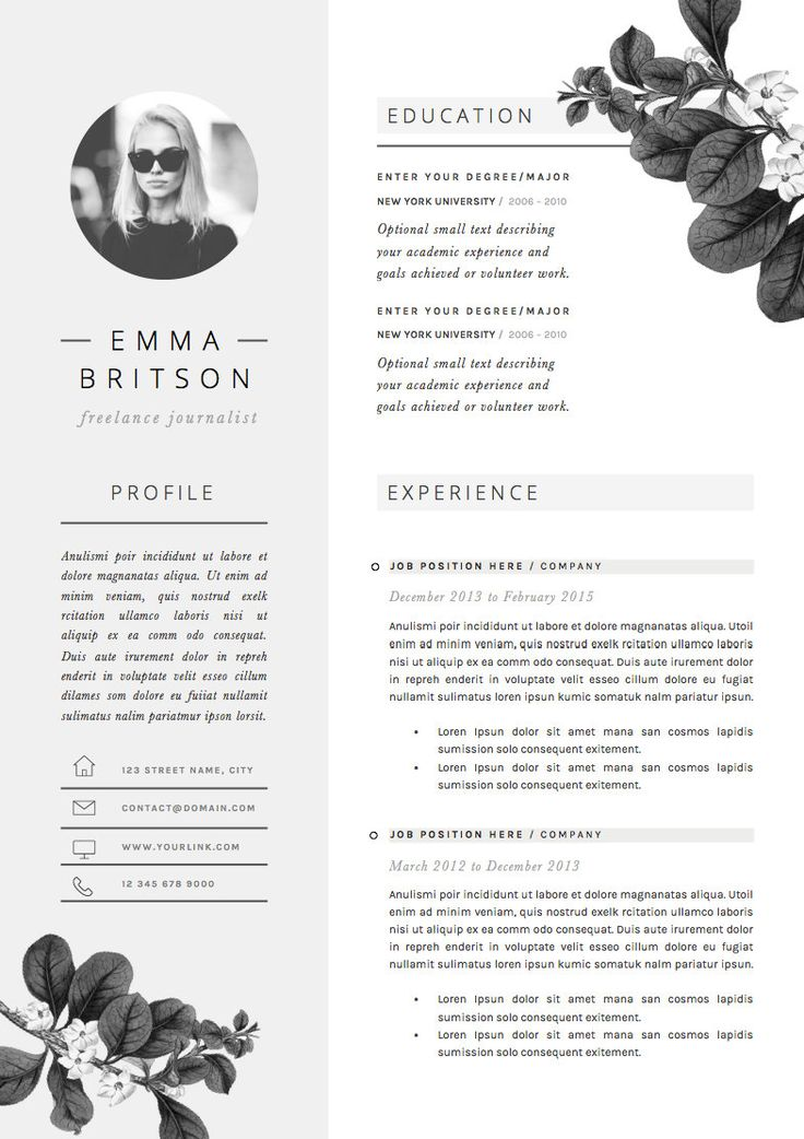 Resume Template 4page CV Template Cover by TheResumeBoutique