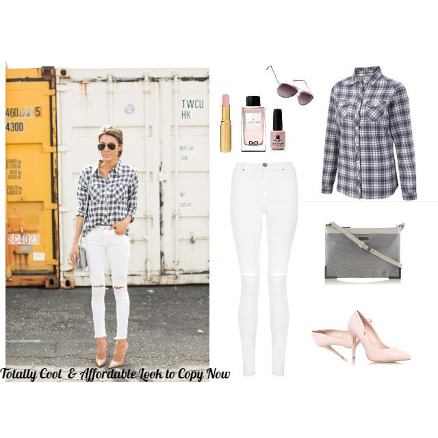 #affordable #spring #look  Simple yet so stylish and cool. White jeans, check shirt, simple grey bag, nude heels, cop shades ;), a hint of perfume, light nail polish & lovely natural pink lipstick! Genius is simplicity! Buy the look, get cashback -> http://lovemylook.co.uk/how-to-copy-this-spring-look.html