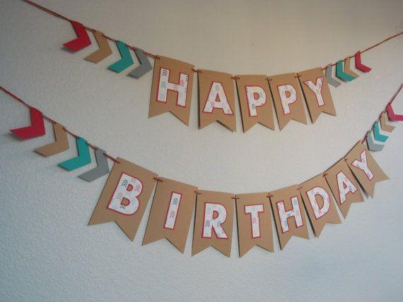 Pow Wow Tribal Arrow Chevron Happy Birthday banner, Kraft paper red turquoise grey cream banner, gender neutral decoration, arrow banner