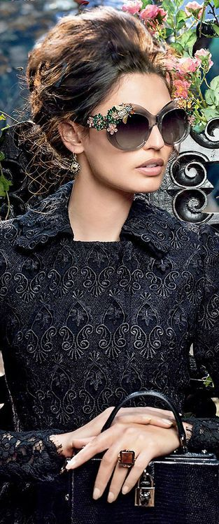 Dolce & Gabbana sunglasses campaign winter 2015 - The Jacket is made out of Lace by Albert Boesch