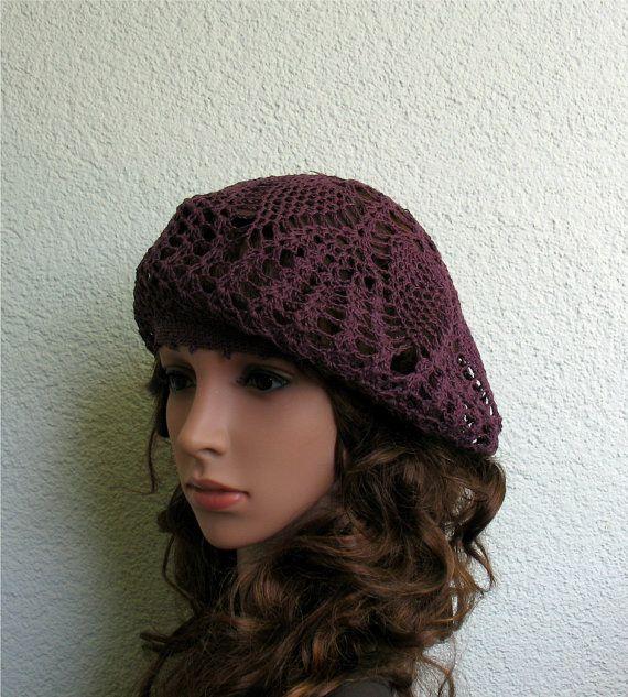 Irish crochet red hat Ladies summer beret