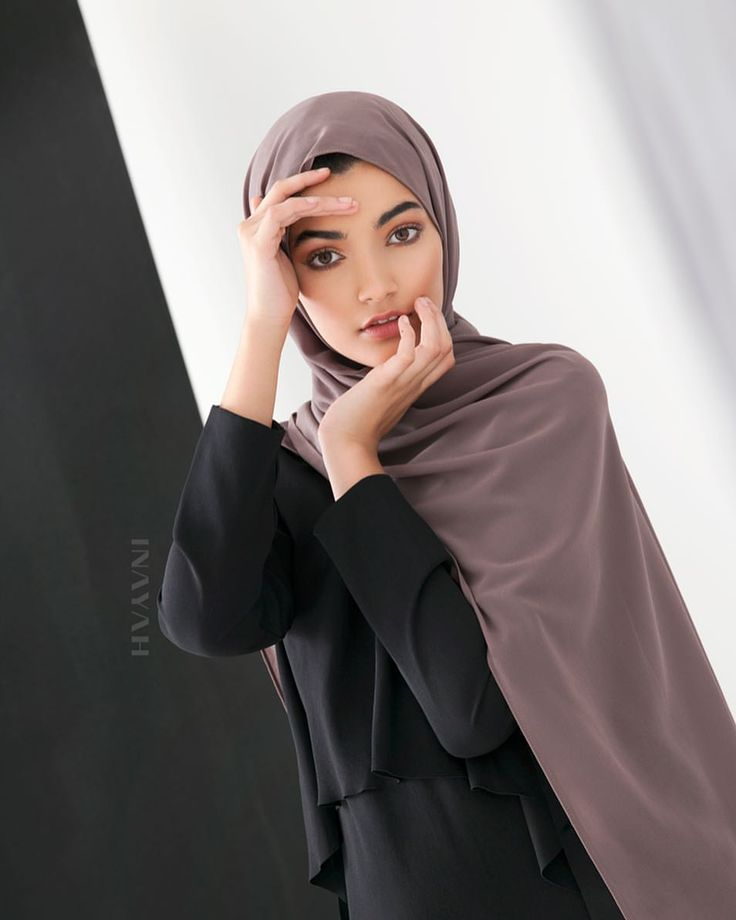 INAYAH | Contemporary fashion designed in natural fabrics and blends to provide high-fashion, class and versatility with everyday wear. - Black Layered Front #Midi + Ash Soft Crepe #Hijab + Medium Nude Soft Cotton #Scrunchy - www.inayah.co