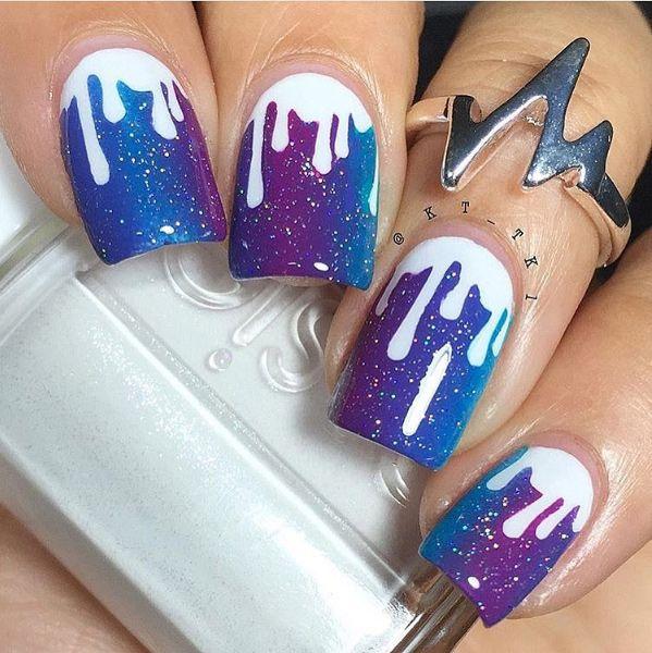 Colorful Paint Drip Nail Art