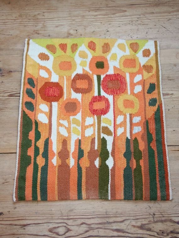 Woven handmade retro wall tapestry  from Sweden