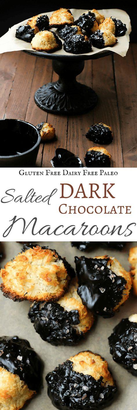 Salted Dark Chocolate Macaroons | Gluten Free & Paleo