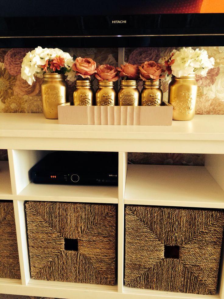 Spray painted maison jars in metallic gold