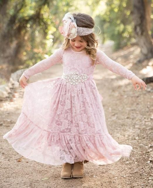 bc0b2b08c Rustic Long Lace Flower Girl Dress Big Ruffled Hem Long Sleeve ...