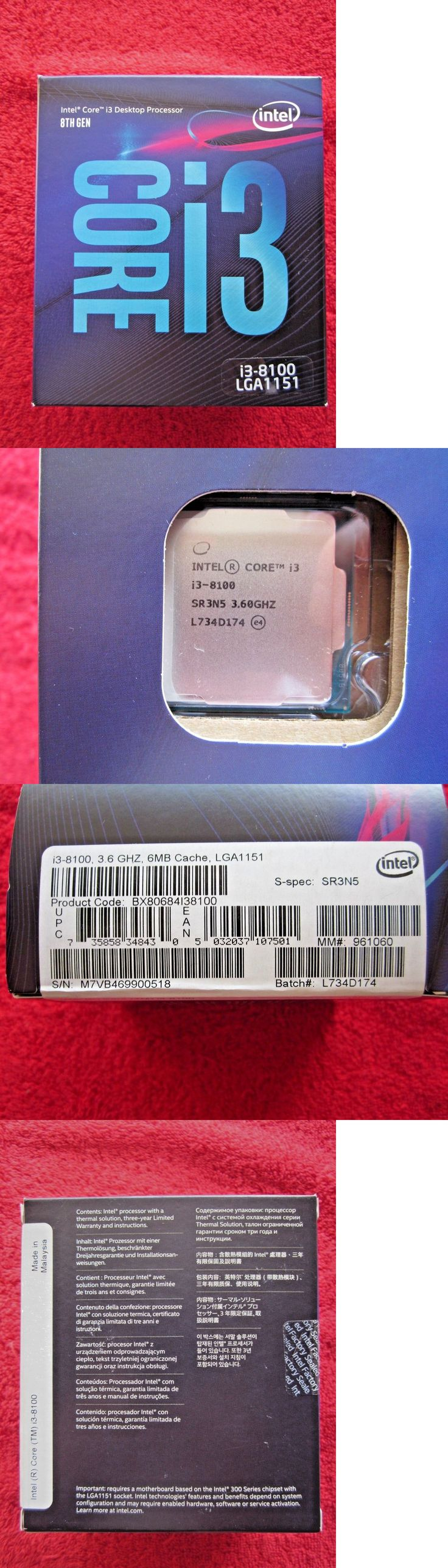 Computer Components And Parts 175673 New Sealed Intel Core I3 8100 Quad Core Lga 1151 300 Series Cpu Retai Intel Computer Components