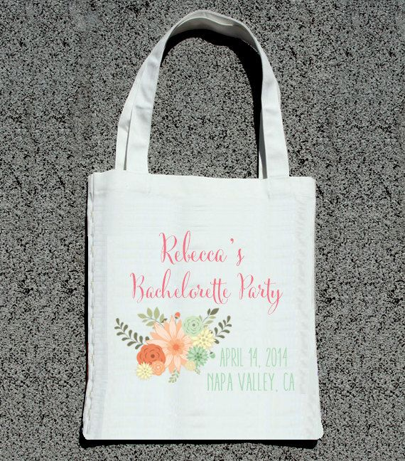 Shabby Chic Floral Vintage Bachelorette Party Totes- Wedding Welcome Tote Bag via ilu.lily designs on Etsy #bacheloretteparty #bachelorettechic #vintage