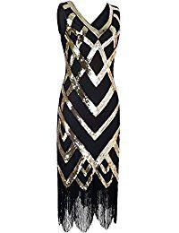 Kayamiya Damen 1920er V-Ausschnitt Pailletten Perlen Verschönerung Gatsby Flapper Kleid