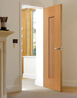 Stylish & exclusive to JB Kind Doors. Fully finished, oak veneered, wide shaker panel #interiordoor Symmetry - Axis Oak