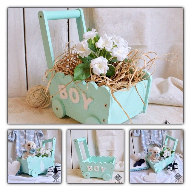 Подарочная коляска- тележека Baby boy. В модном цвете Tiffany.  270мм х 160мм х270мм. Материал, размер и цвет выбираются по желанию заказчика.