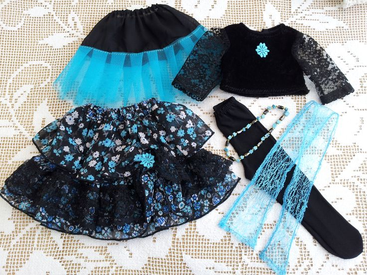 Velvet, Lace, Tulle 6-piece Ra-ra skirt/double outfit - with magnetic necklace