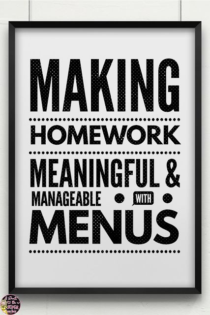 Information about homework research and ideas on how to use homework menus to differentiate homework in the elementary classroom includes a FREE homework menu with 4 corresponding printables to get you started!