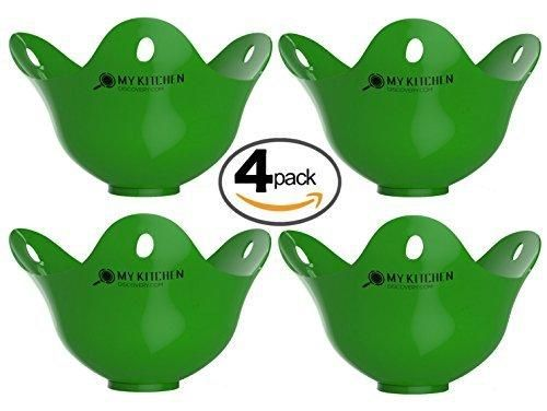 Silicone Egg Poacher - 4 Pack Egg Cookware Cups Egg Cooker Cooking Perfect Poached Eggs In Minutes! Replaces Your Microwave Egg Poacher - Egg Rings - Egg Boiler Its a Must Have Kitchen Gadget