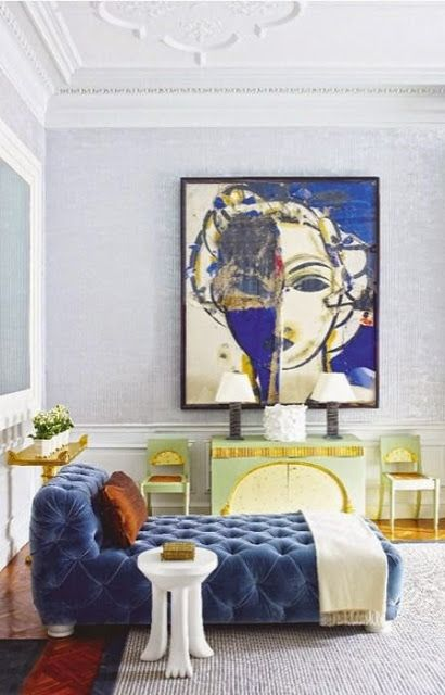 South Shore Decorating Blog: More Oversized Art  [BOBBY -- like the use of blue here, w. pale grey walls and pale grey rug -- Maybe you can use this color scheme]