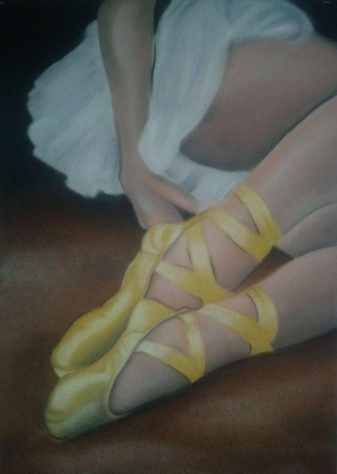 """A ballerina resting"" 50x70 cardboard, pastels."