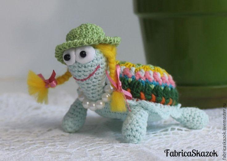 Купить Игрушка Черепаха, связанная крючком - голубой, черепаха, черепашка, зоопарк, зверята, игрушки животные